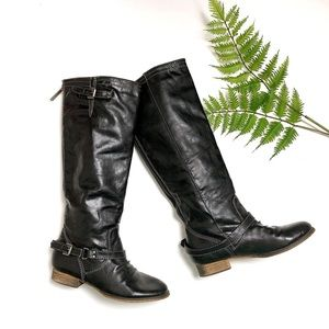 Black Vegan Leather Knee High Riding Boots